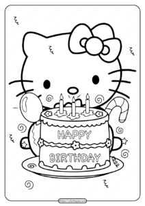 Printable Hello Kitty Birthday Party Coloring Page