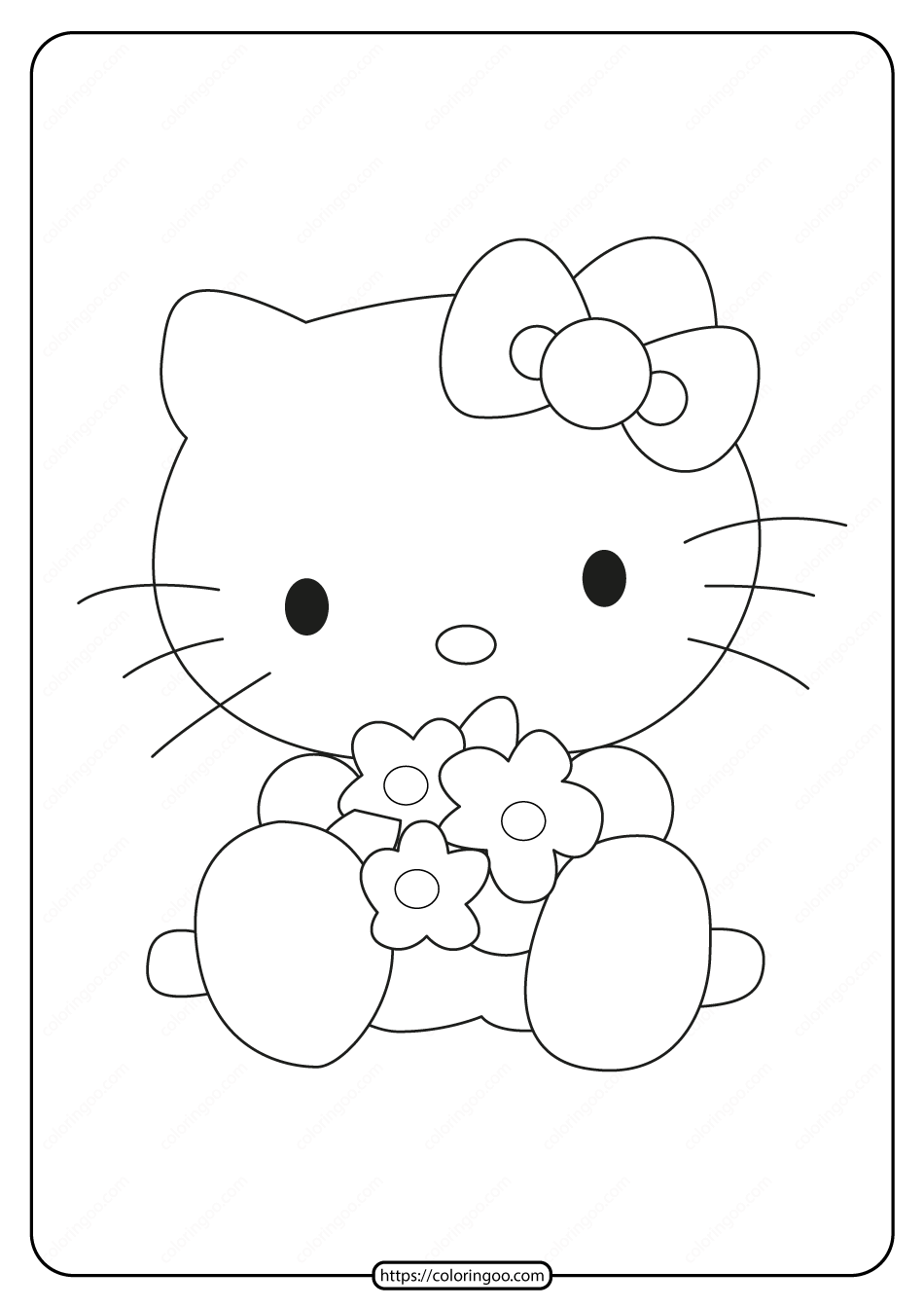 Printable Hello Kitty Hugging Flowers Coloring Page