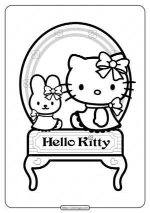 Printable Hello Kitty in Front of the Mirror Coloring