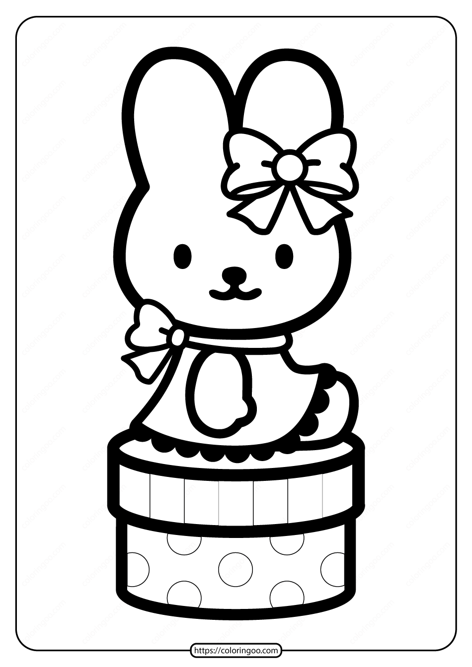 Printable Hello Kitty on the Box Coloring Page