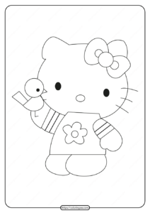 Printable Hello Kitty with a Bird Coloring Page