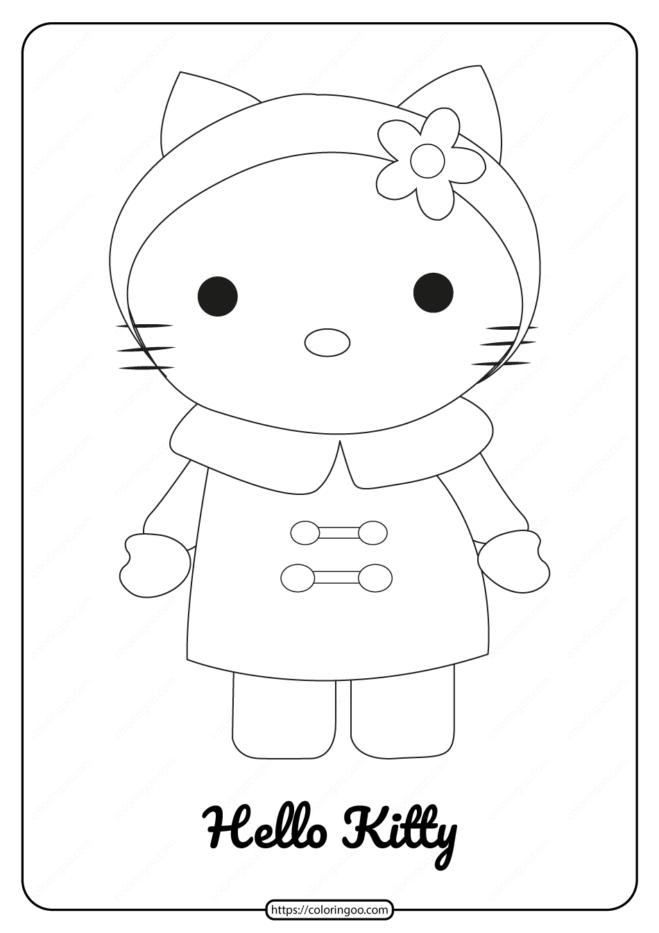 Printable Hello Kitty Wearing a Raincoat Coloring Page