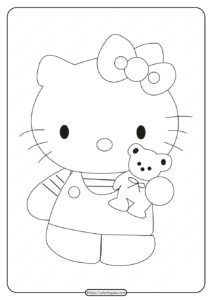 Printable Hello Kitty with a TeddyBear Coloring Page