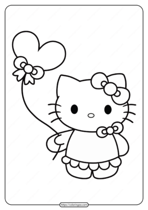 Printable Hello Kitty with Balloon Coloring Page