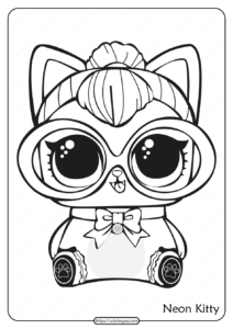 Printable LOL Doll Surprise Neon Kitty Coloring Page