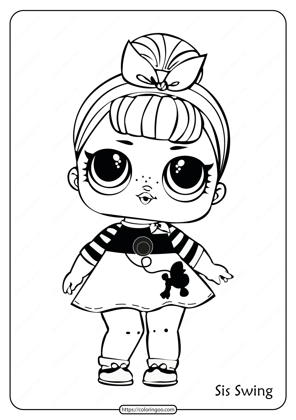 Printable LOL Doll Surprise Sis Swing Coloring Page