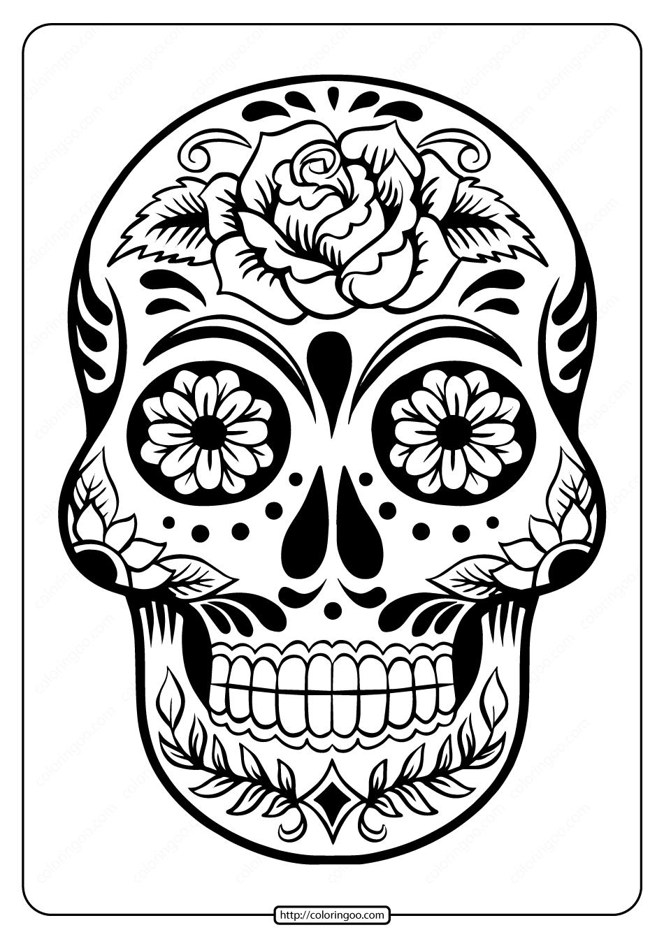 Printable Sugar Skull Pdf Coloring Pages 03