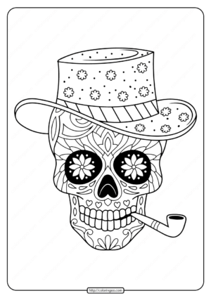 Printable Sugar Skull Pdf Coloring Pages 04