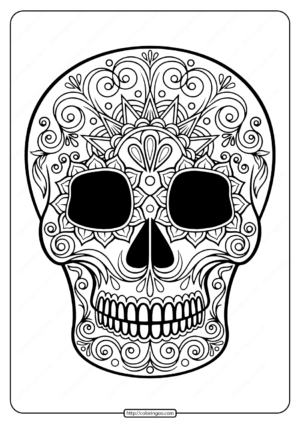 Printable Sugar Skull Pdf Coloring Pages 05