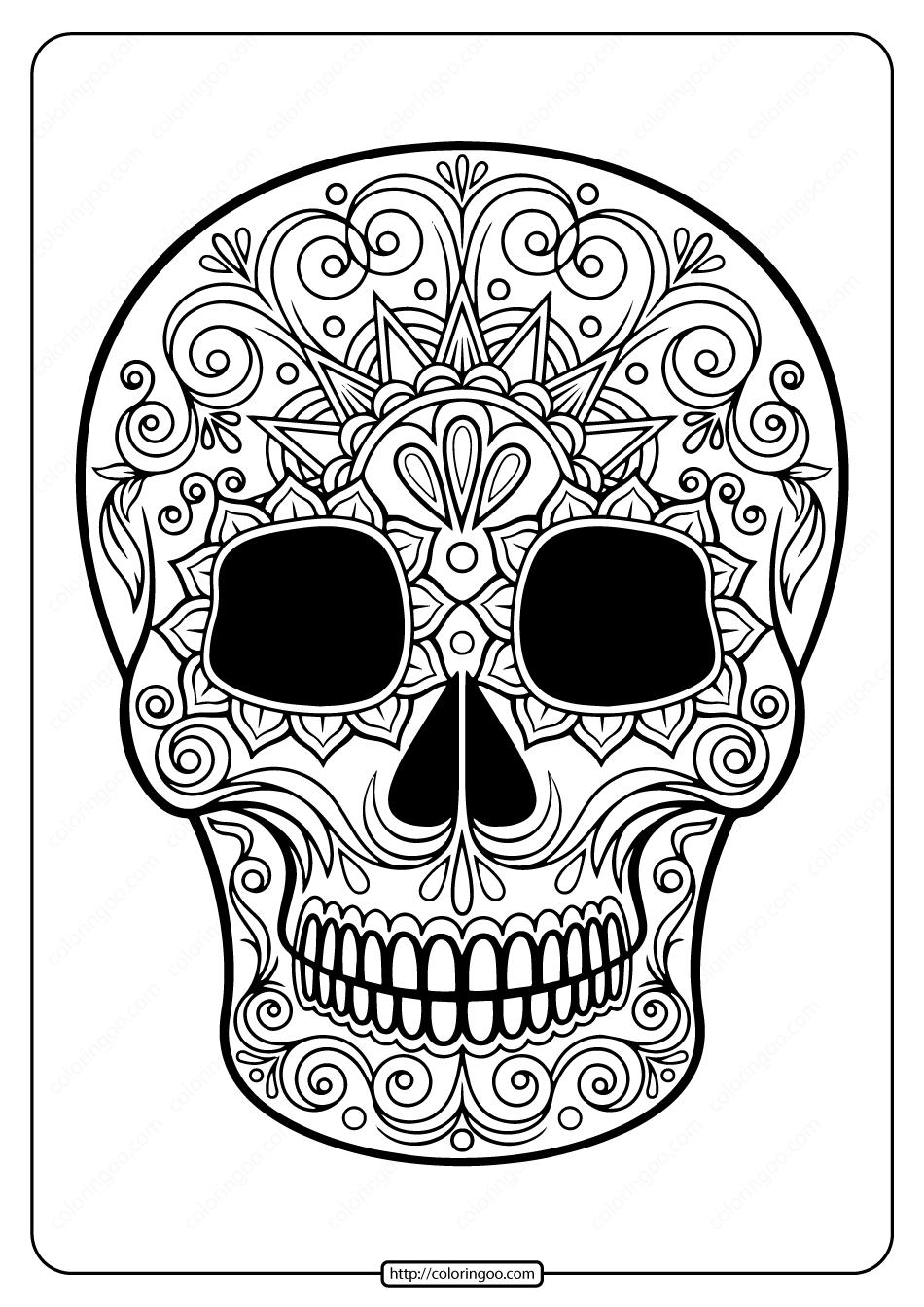 Printable Sugar Skull Pdf Coloring Pages 05