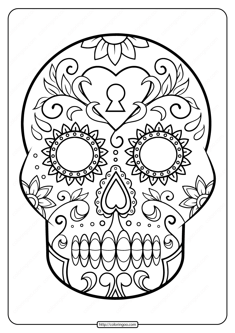 Printable Sugar Skull Pdf Coloring Pages 06