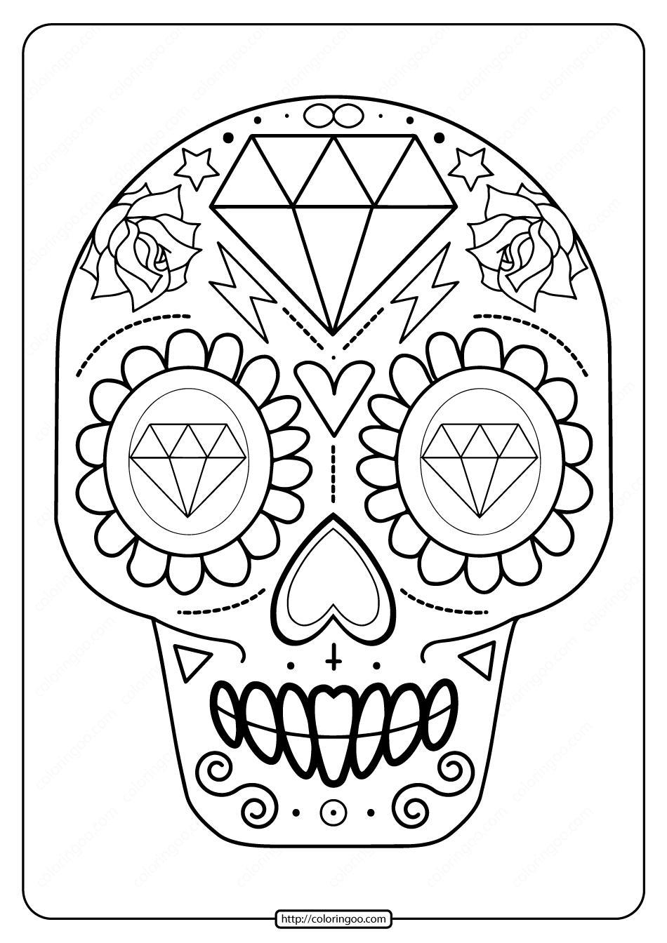 Printable Sugar Skull Pdf Coloring Pages 08