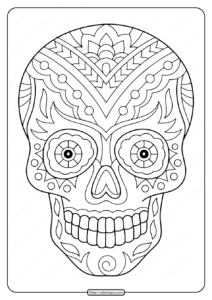 Printable Sugar Skull Pdf Coloring Pages 09