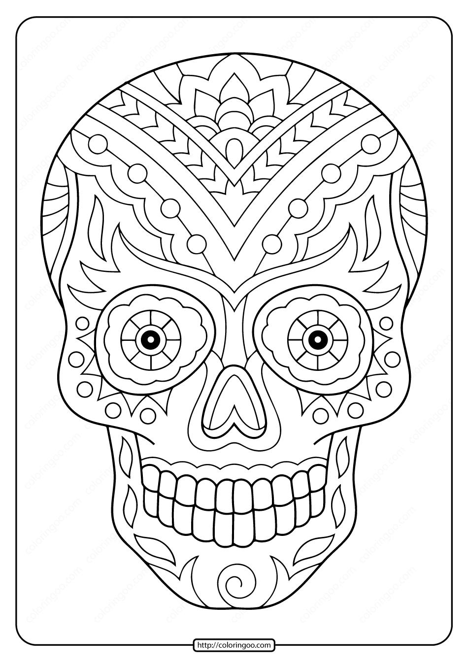 Printable Sugar Skull Pdf Coloring Pages 09