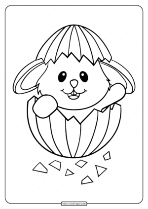 Baby Rabbit Cute Easter Egg Coloring Page