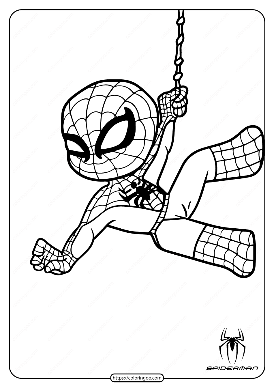 Cute Spiderman Coloring Pages for Kids