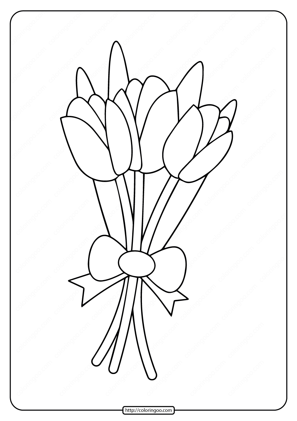 Free Printable a Bunch of Tulips Coloring Page