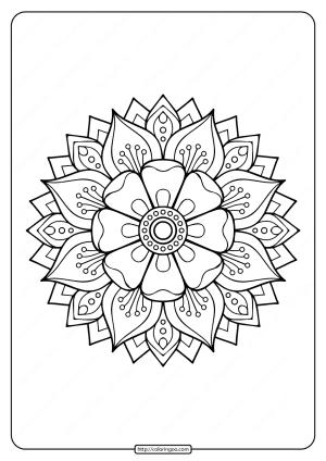 Free Printable Adult Floral Mandala Coloring Page 74