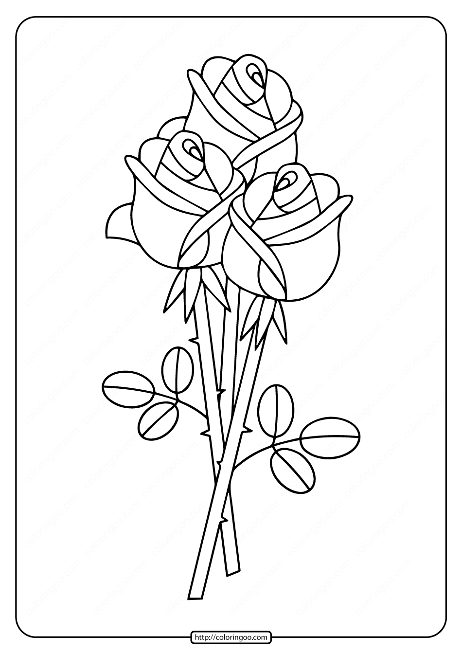 Free Printable Bunch of Roses Coloring Pages