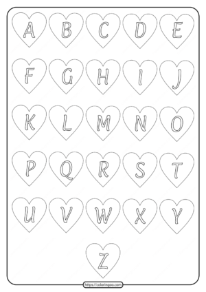 Free Printable Heart Shaped Alphabet Uppercase Letters