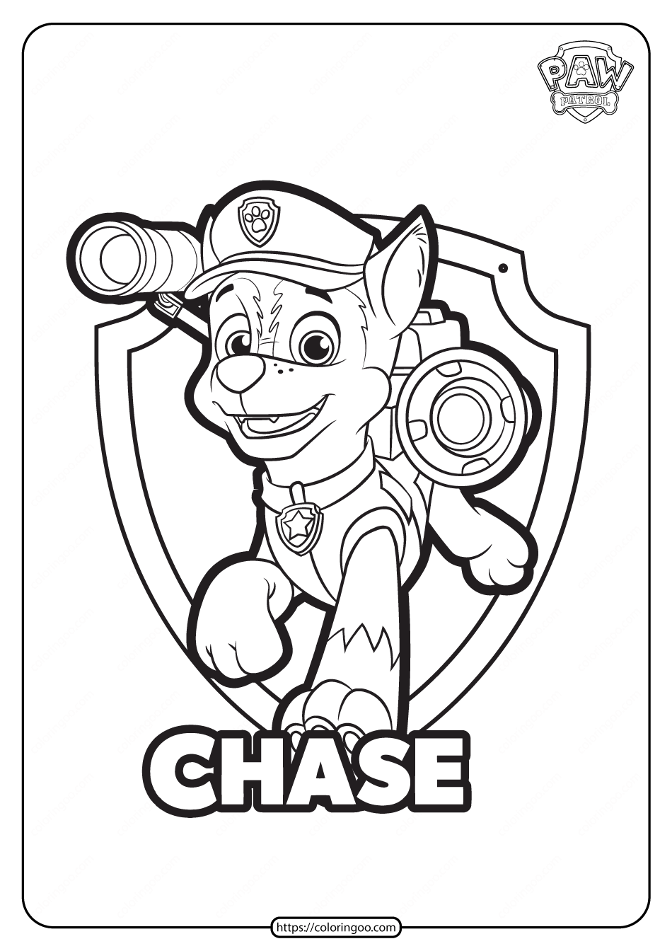 Free Printable Paw Patrol Chase Coloring Pages