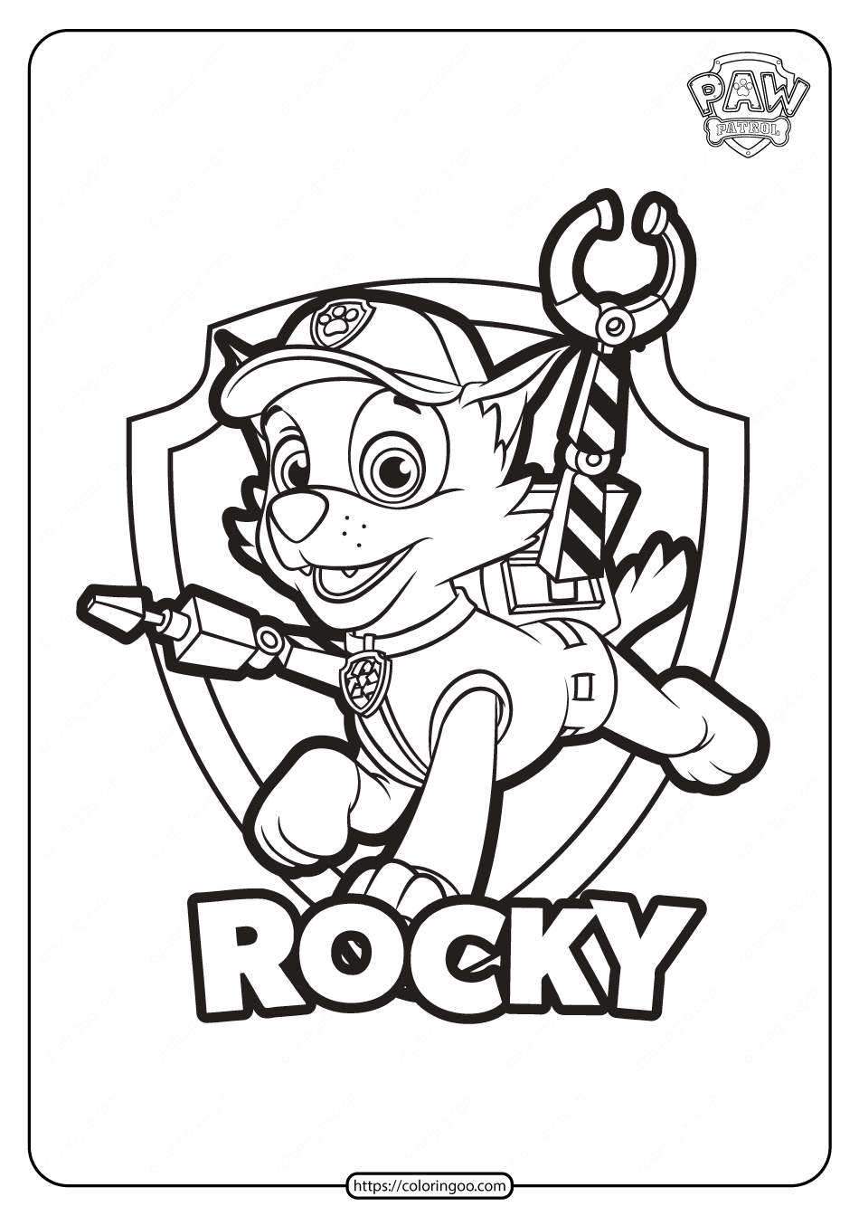 free printable paw patrol rocky coloring pages
