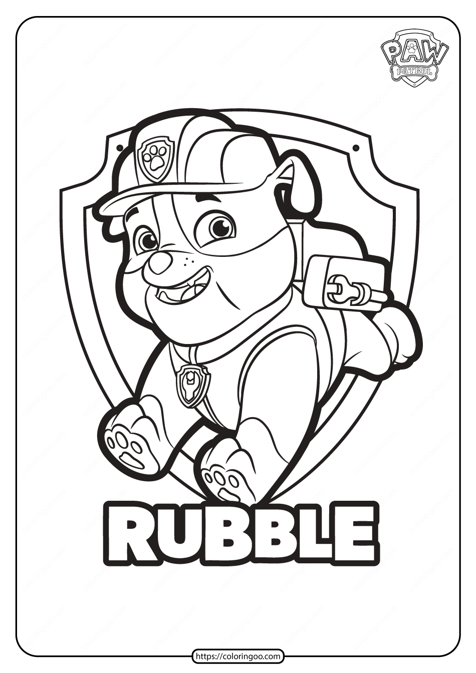 Free Printable Paw Patrol Rubble Coloring Pages