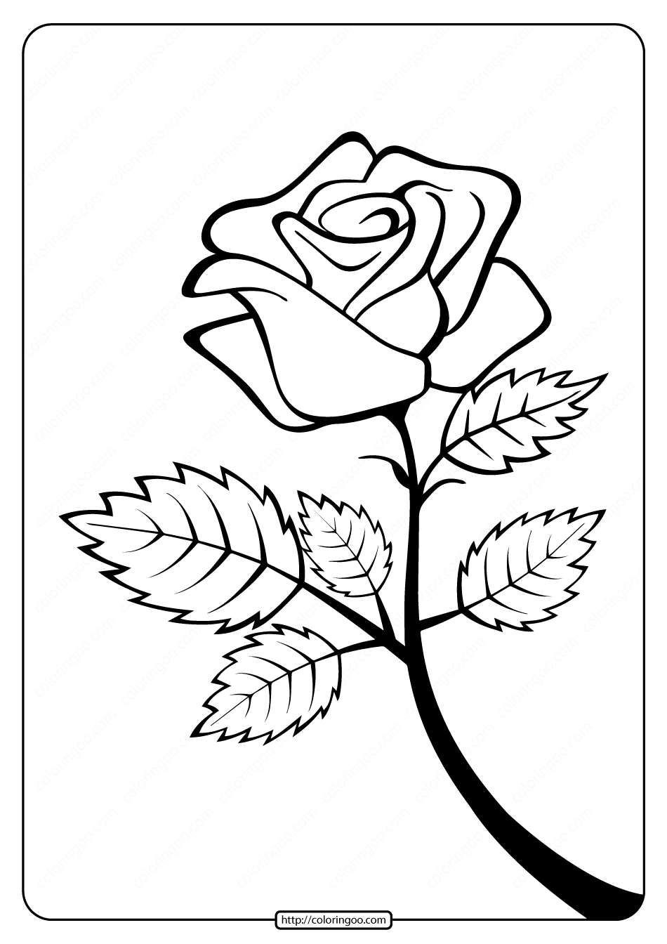 Free Printable Rose Branch Coloring Page