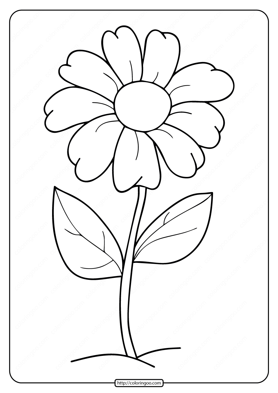 Free Printable Simple Flower Coloring Pages