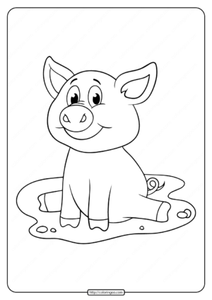 Free Printable Sitting Pig Coloring Pages