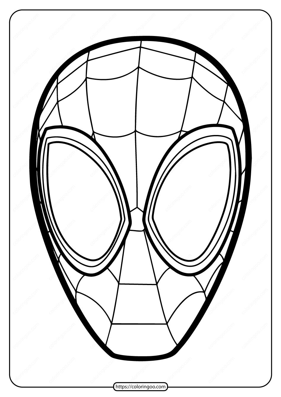 Free Printable Spiderman Mask Pdf Coloring Page
