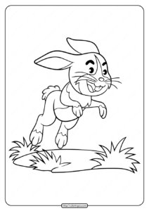 Jumping On Grass Rabbit Coloring Pages