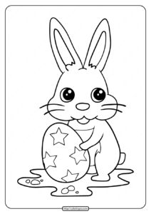 Little Rabbit and Star Easter Egg Coloring Pages