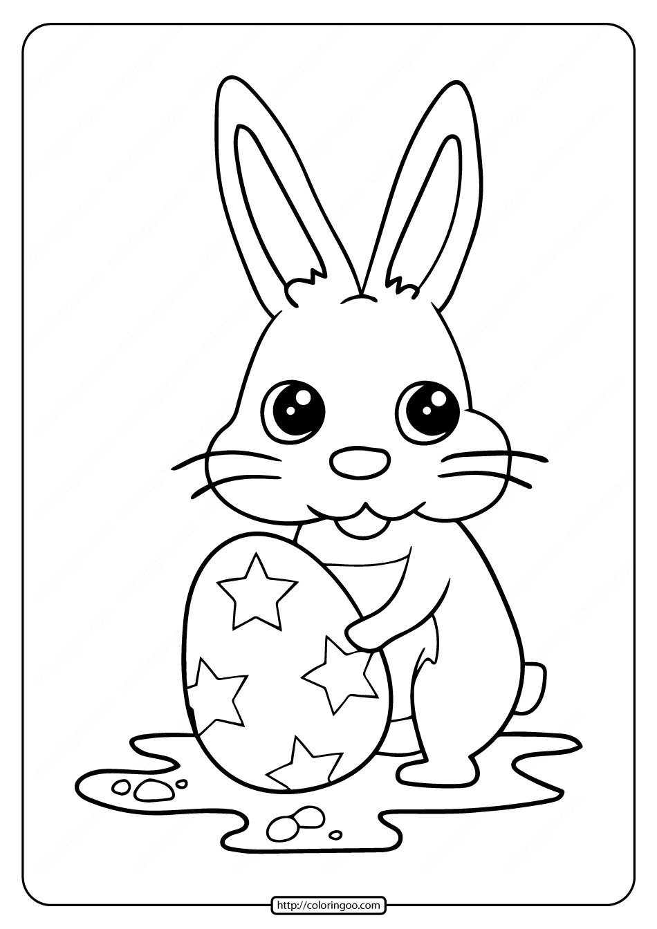 Egg Coloring Kit: Little Rabbit And Star Easter Egg Coloring Pages