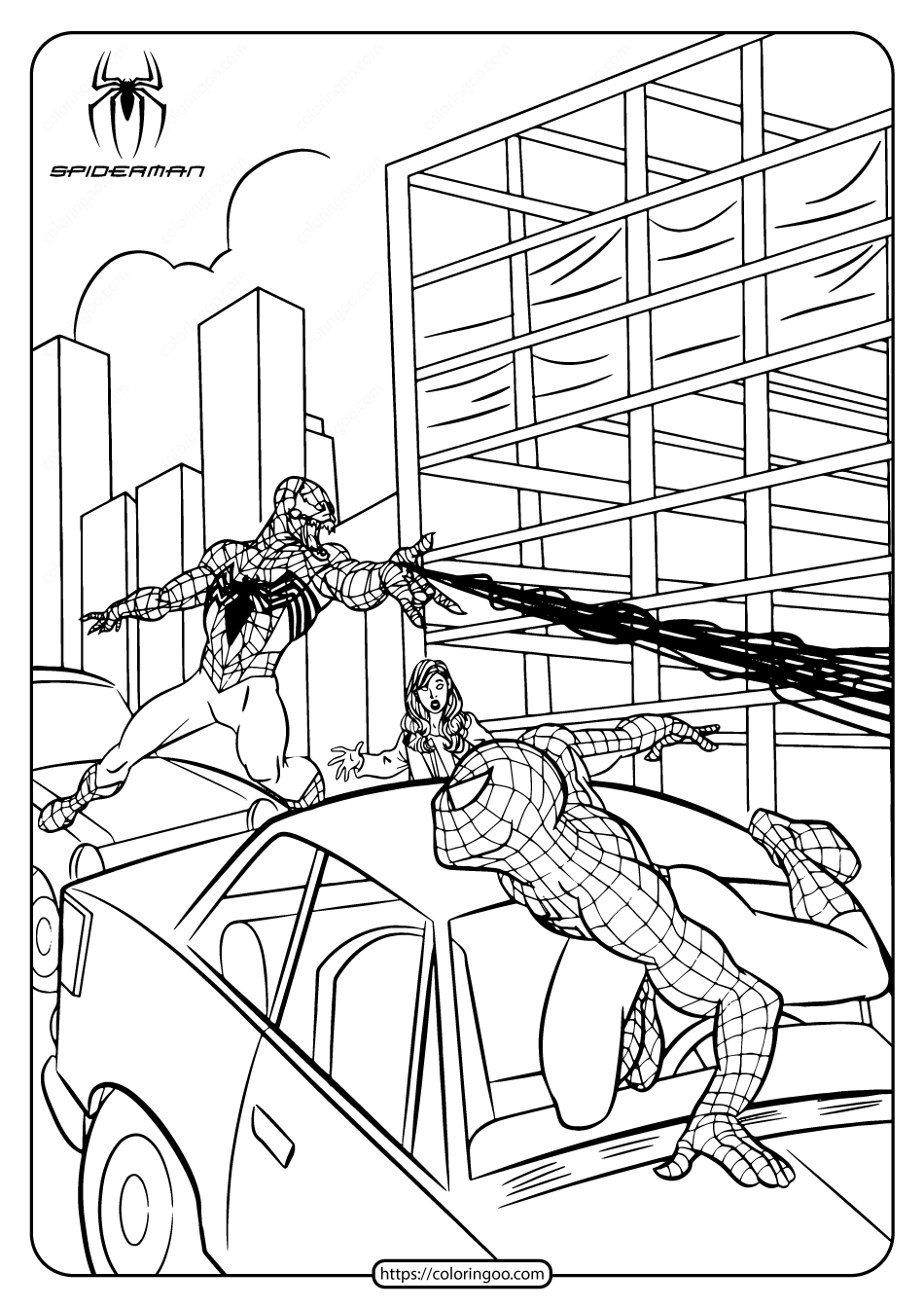 Marvel Black Spiderman Fighting Coloring Page
