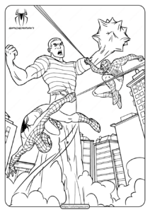 Marvel Spiderman vs Sandman Coloring Page