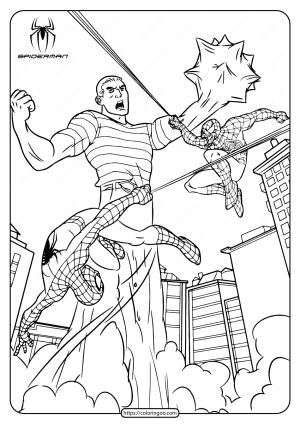 Marvel Spiderman vs Sandman Coloring Page