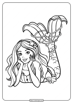 Mermaid Barbie with Cool Haircut Coloring Page