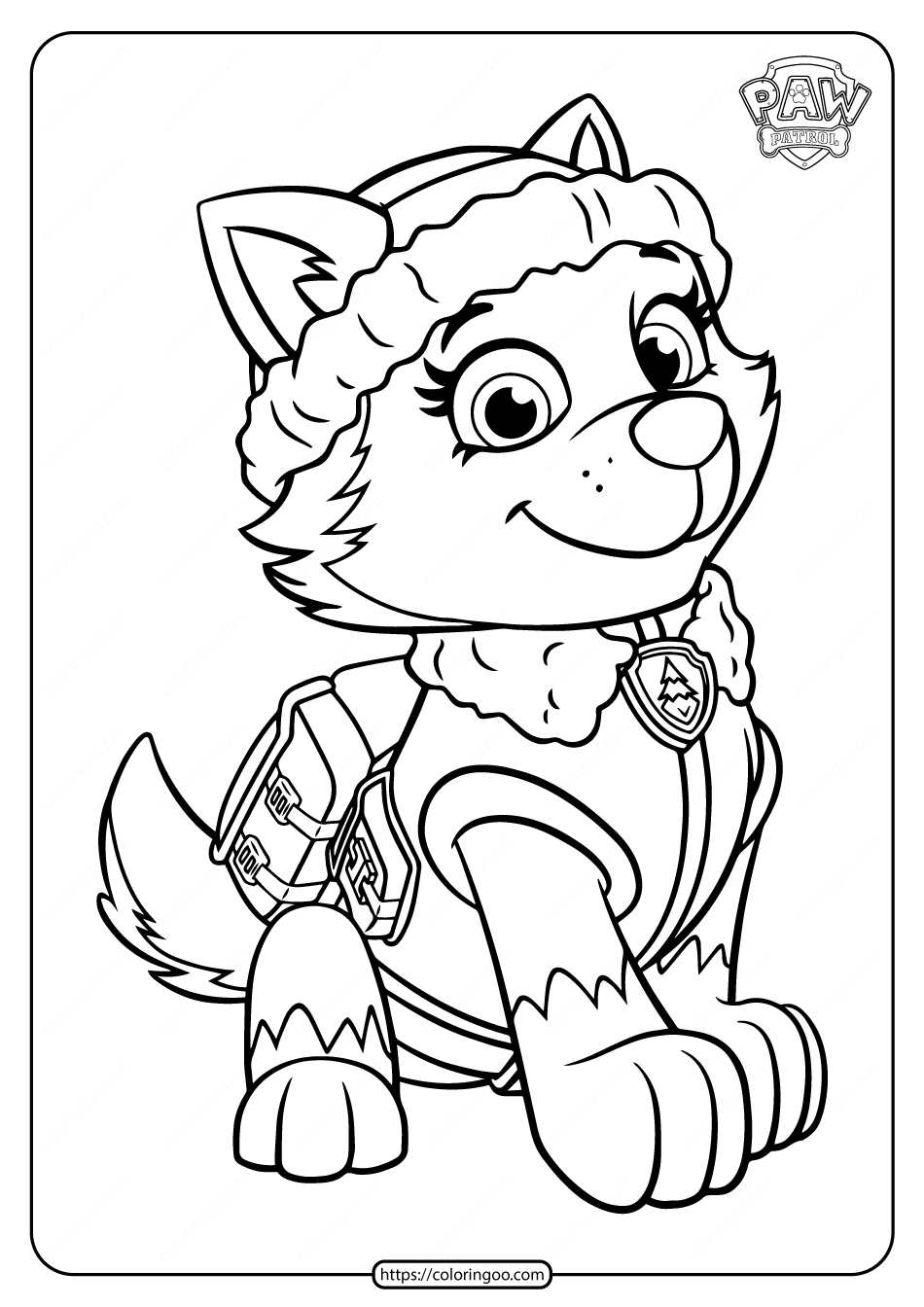 Printable Paw Patrol Everest Coloring Pages for Kids
