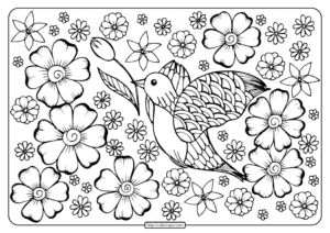 Printable a Bird in Flowers Coloring Page