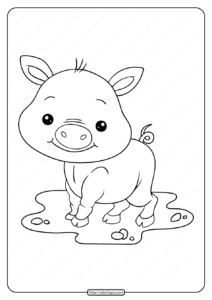 Printable Baby Cute Pig Coloring Pages