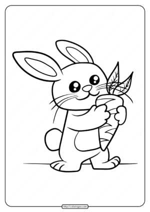 Printable Baby Rabbit Coloring Page Eat Carrot