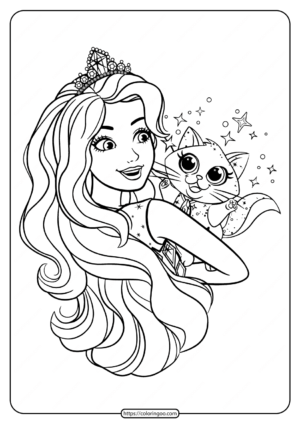 Printable Barbie and Cat Coloring Pages