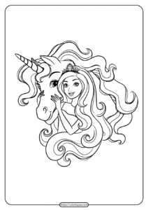 Printable Barbie and Unicorn Coloring Pages