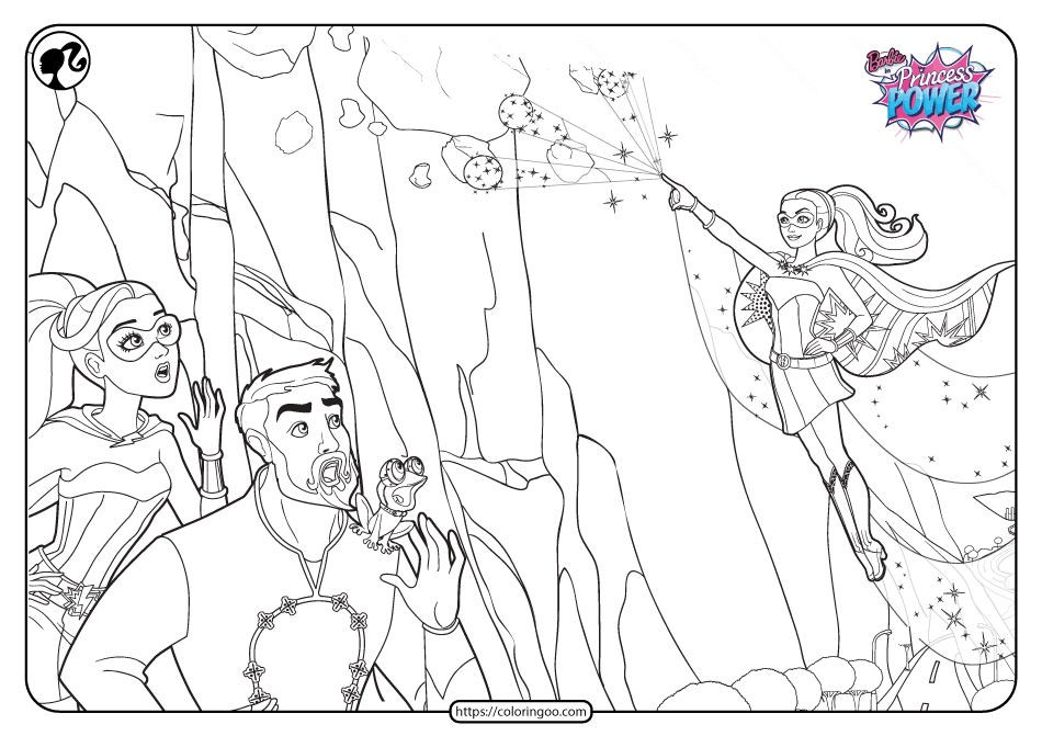 Printable Barbie in Princess Power Pdf Coloring Page