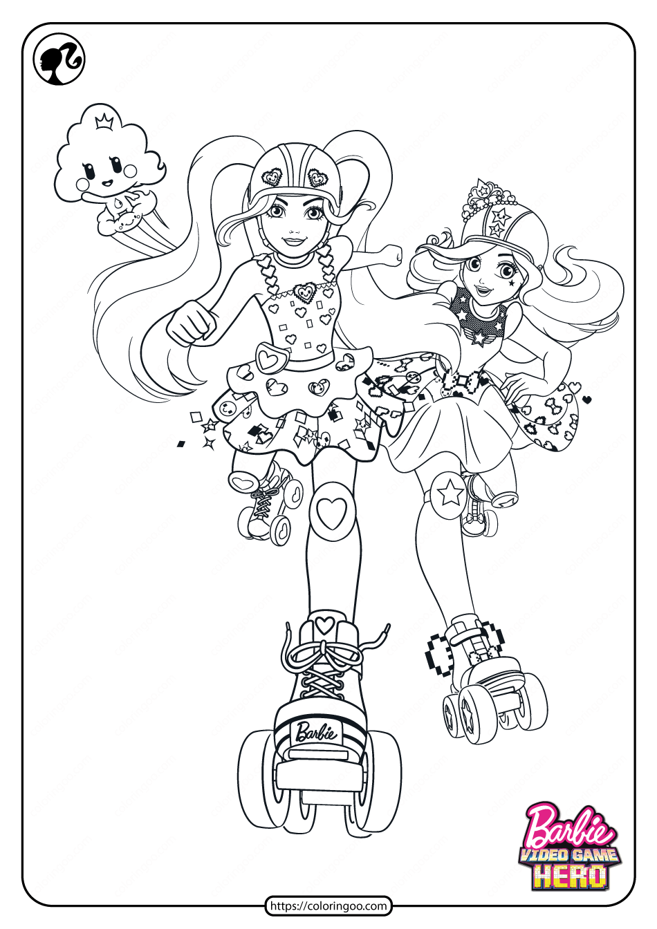 Printable Barbie Video Game Hero Coloring Pages