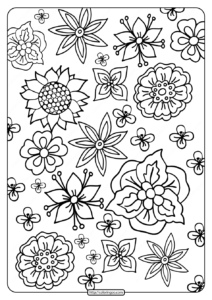 Printable Basic Flower Drawings Coloring Page