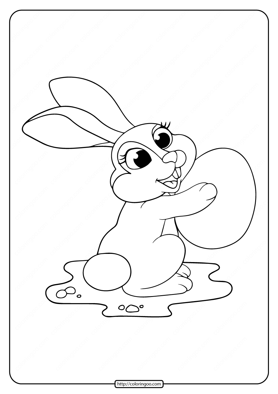 Printable Big Easter Egg Rabbit Coloring Pages