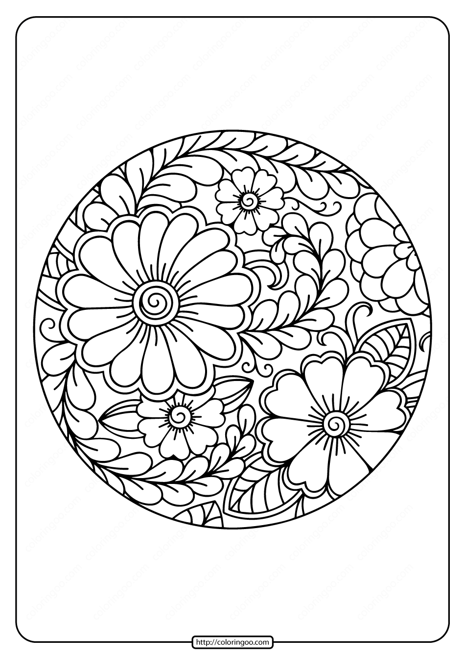 Printable Circle Border Flower Coloring Page