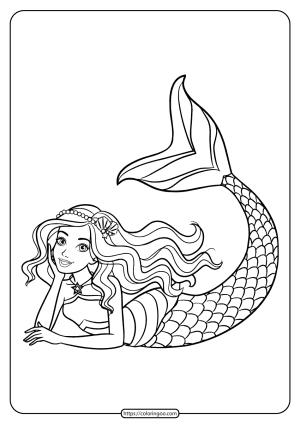 Cute Barbie Mermaid Coloring Page For Girls